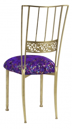 Gold Bella Fleur with Purple Paint Splatter Knit Cushion (1)