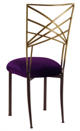 Two Tone Gold Fanfare with Deep Purple Velvet Cushion (1)