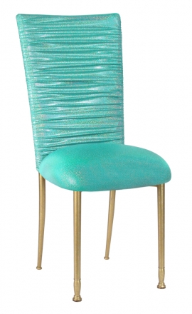 Chloe Mermaid Stretch Knit Chair Cover and Cushion on Gold Legs (2)