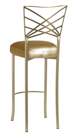 Gold Fanfare Barstool with Gold Leatherette Boxed Cushion (1)