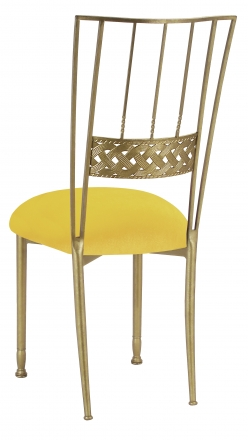 Gold Bella Braid with Sunshine Yellow Velvet Cushion (1)