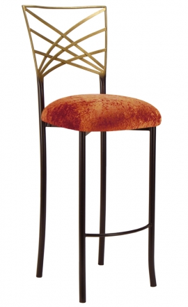 Two Tone Gold Fanfare Barstool with Paprika Crushed Velvet Cushion (2)