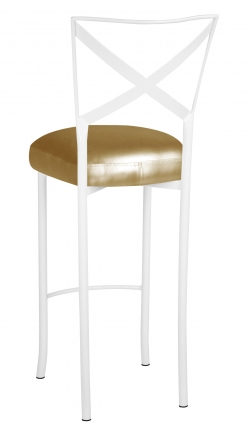 Simply X White Barstool with Gold Leatherette Boxed Cushion (1)