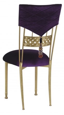 Eggplant Velvet Hat and Tassel Chair Cover with Cushion on Gold Bella Braid (1)