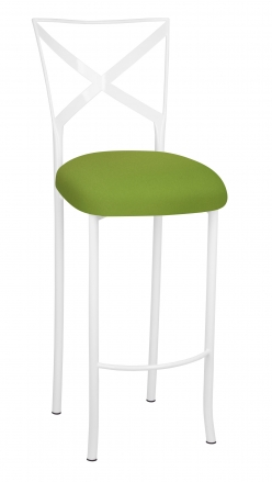 Simply X White Barstool with Lime Stretch Knit Cushion (2)