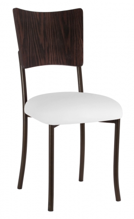 Wood Back Top with White Leatherette Cushion on Brown Legs (2)