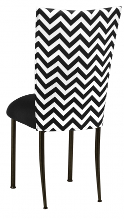 Chevron Chair Cover with Black Stretch Knit Cushion on Brown Legs (1)