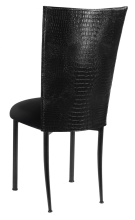Black Croc Chair Cover with Black Velvet Cushion on Black Legs (1)