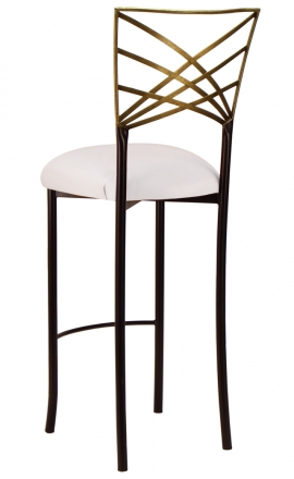 Two Tone Gold Fanfare Barstool with White Leatherette Cushion (1)
