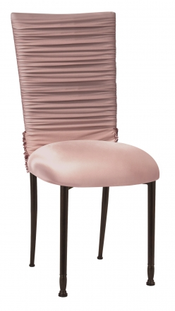 Chloe Blush Chair Cover with Bedazzle Band and Blush Stretch Knit Cushion on Mahogany Legs (2)