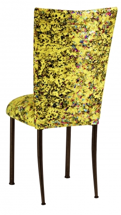 Yellow Paint Splatter Chair Cover and Cushion on Brown Legs (1)
