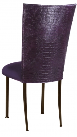 Purple Croc Chair Cover with Eggplant Velvet Cushion on Brown Legs (1)