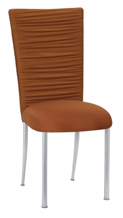 Chloe Copper Stretch Knit Chair Cover with Rhinestone Accent Band and Cushion on Silver Legs (2)