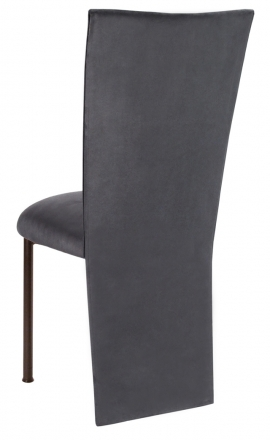 Charcoal Suede Jacket and Cushion on Mahogany Legs (1)