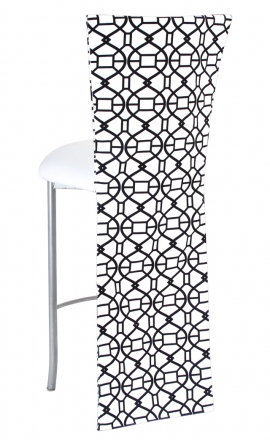 Black and White Kaleidoscope Barstool Jacket with White Suede Cushion on Silver Legs (1)