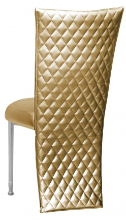 Gold Quilted Leatherette Jacket and Boxed Cushion on Silver Legs (1)