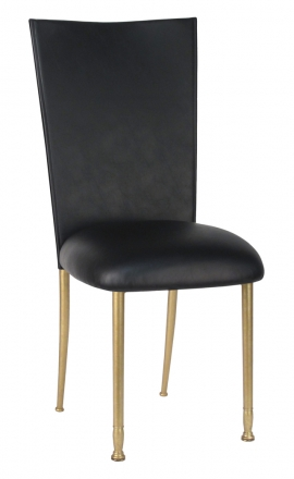 Black Leatherette Chair Cover and Cushion on Gold Legs (2)