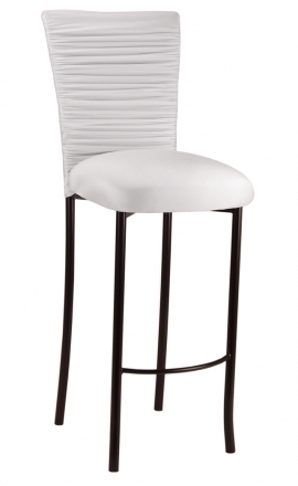 Chloe White Stretch Knit Barstool Cover and Cushion on Brown Legs (2)