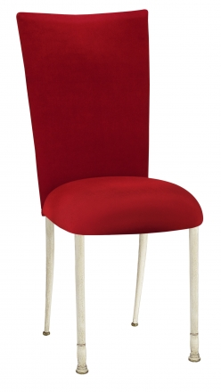 Red Velvet Chair Cover and Cushion on Ivory Legs (2)