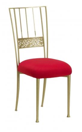 Gold Bella Fleur with Red Stretch Knit Cushion (2)