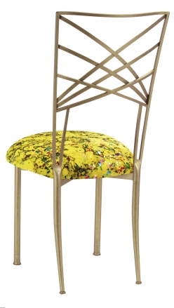 Gold Fanfare with Yellow Paint Splatter Stretch Knit Cushion (1)