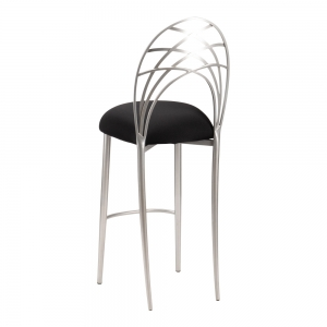 Silver Piazza Barstool with Black Stretch Knit Cushion (1)