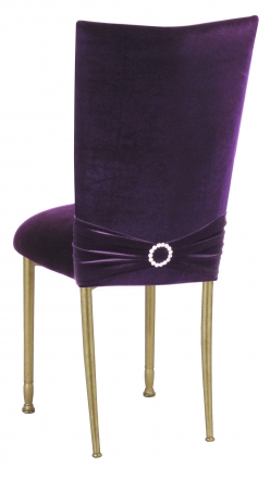 Deep Purple Velvet Chair Cover with Jewel Band and Cushion on Gold Legs (1)