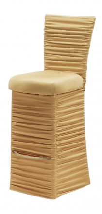 Chloe Gold Stretch Knit Barstool Cover with Jewel Band, Cushion and Skirt (2)