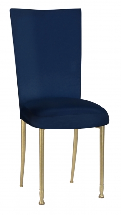 Midnight Blue Taffeta Chair Cover and Boxed Cushion on Gold Legs (2)