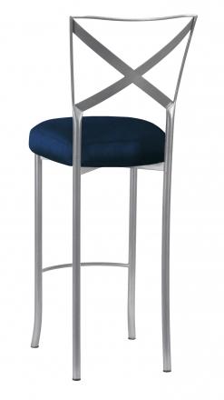 Simply X Barstool with Midnight Blue Taffeta Boxed Cushion (1)