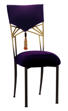 Eggplant Velvet Hat and Tassel with Cushion on Two Tone Fanfare (2)