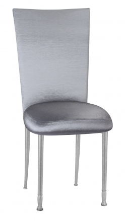 Charcoal Taffeta Chair Cover with Boxed Cushion on Silver Legs (2)