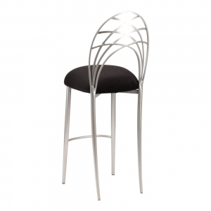 Silver Piazza Barstool with Black Suede Cushion (1)