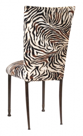 Zebra Stretch Knit Chair Cover and Cushion on Mahogany Legs (1)