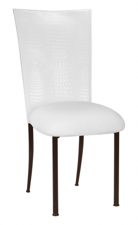 White Croc Chair Cover with White Stretch Knit Cushion on Brown Legs (2)