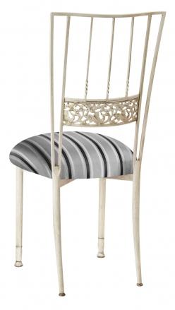 Ivory Bella Fleur with Charcoal Stripe Cushion (1)