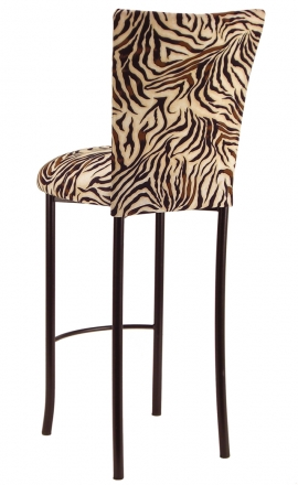 Zebra Stretch Knit Barstool Cover and Cushion on Brown Legs (1)