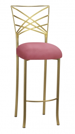 Gold Fanfare Barstool with Raspberry Suede Cushion (2)