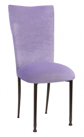 Lavender Velvet Cowl Neck Chair Cover and Cushion on Mahogany Legs (2)