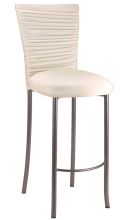 Chloe Ivory Stretch Knit Barstool Cover and Cushion on Silver Legs (2)