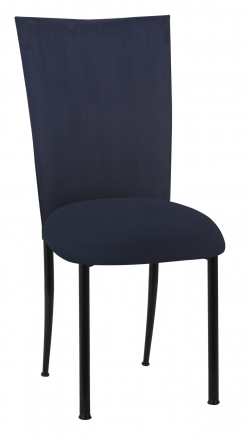 Navy Suede Chair Cover and Cushion on Black Legs (2)