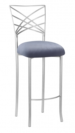 Silver Fanfare Barstool with Steel Velvet Cushion (2)