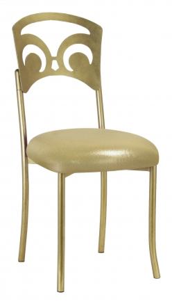 Gold Fleur de Lis with Metallic Gold Stretch Knit Cushion (2)