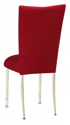Red Velvet Chair Cover and Cushion on Ivory Legs (1)