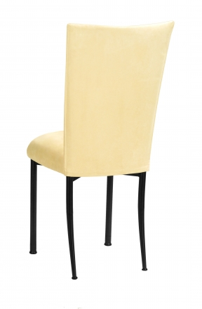 Buttercup Suede Chair Cover and Cushion on Black Legs (1)