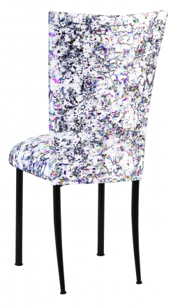 White Paint Splatter Chair Cover and Cushion on Black Legs (1)