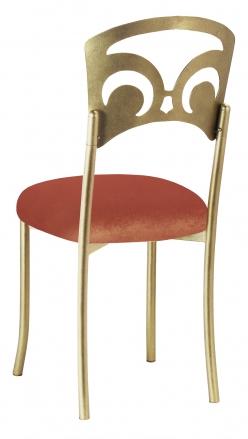 Gold Fleur de Lis with Paprika Velvet Cushion (1)