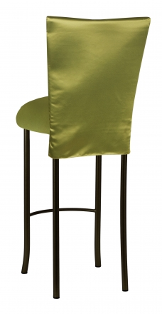 Lime Satin 3/4 Length Barstool Cover and Cushion on Brown Legs (1)