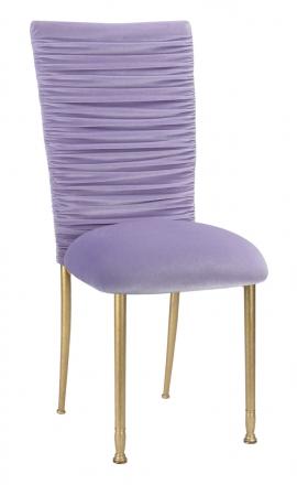 Chloe Lavender Velvet Chair Cover and Cushion on Gold Legs (2)