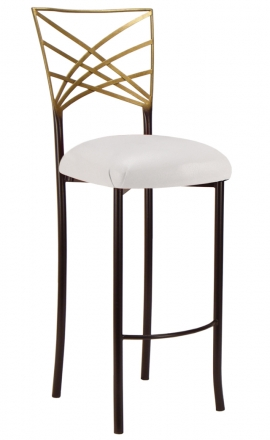 Two Tone Gold Fanfare Barstool with White Leatherette Cushion (2)